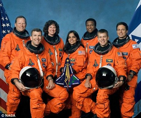 Space Shuttle Columbia crew on board when it exploded. Front row L-R  Rick Husband,Kalpana Chawla,William McCool,back row David Brown,Laurel Clark,Michael Anderson and Israeli astronaut Ilan Ramon