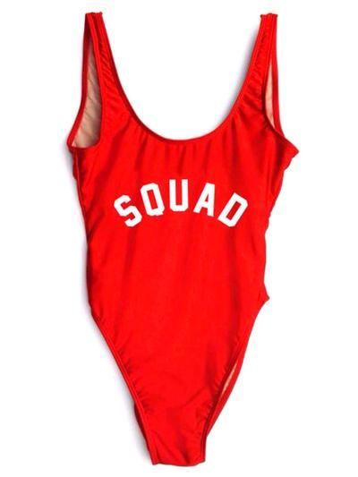 SQUAD One-Piece Slogan Swimsuit
