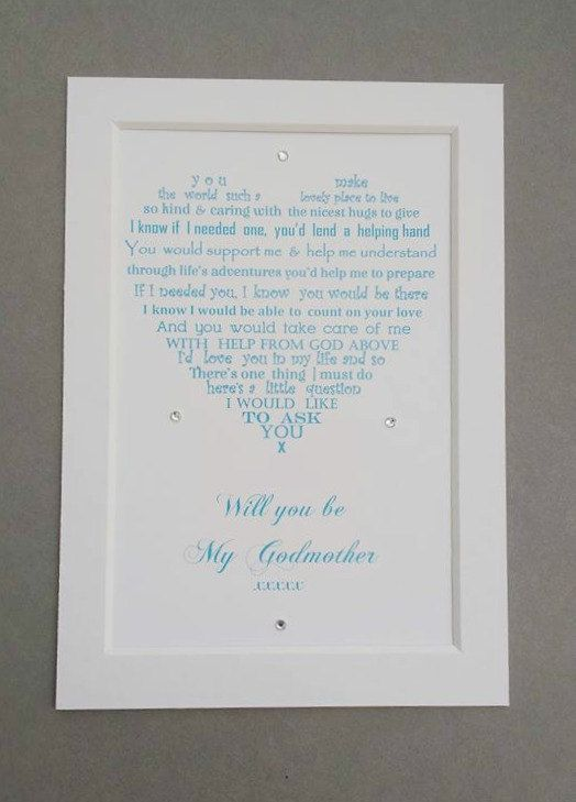 Are you looking for a way to ask someone special Will you be my Godmother? - here is the perfect solution…..  I have written poems for the occasion and shaped them by hand into a heart, but they are also available straight if you prefer. They can be printed in any colour font, if you don't see the colour you want on the listing, please just ask.  (I also have poems for Godfather / Godparents as well as thank you gifts )   Names and a personal message can be added if you wish – totally up to…