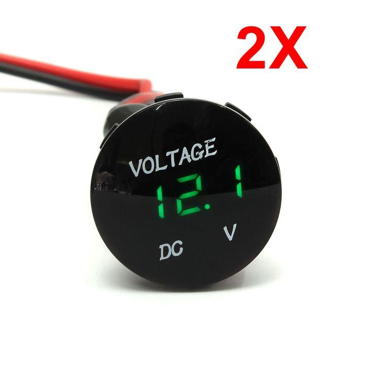 12V-24V Motorcycle Car Green LED Digital Volt Meterr Waterproof Volt Panel Meter Gauge