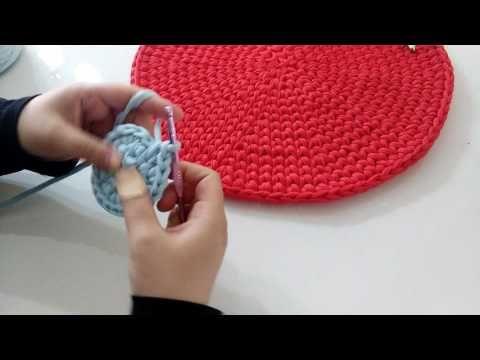 Penye ipten yuvarlak sepet taban yapımı ( büyük boy taban yapımı 15 sıra- 40cm ) - YouTube