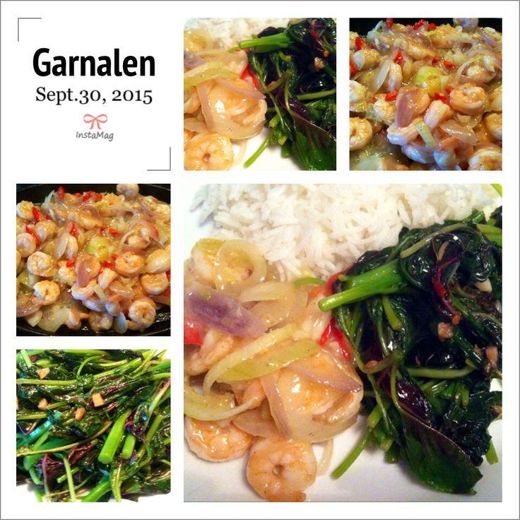 Tijd voor garnalen; gewokt met verse knoflook en uien met ernaast Chinese bladgroente..smakelijke groet, Tammy @kookmetmij