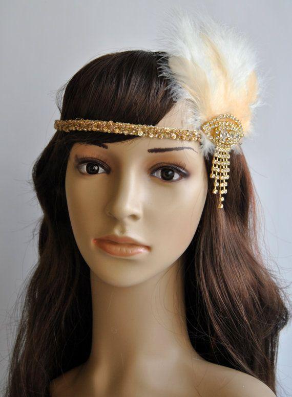 1920's Headpiece flapper chamagne gold headband,1920s ...