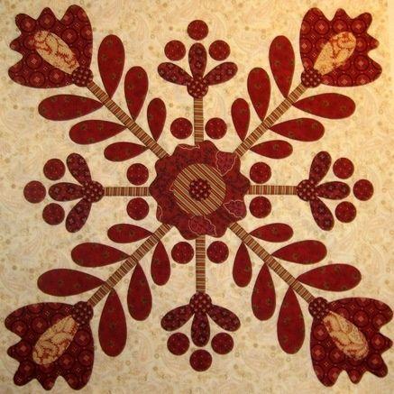 Red & Cream Vintage Berry Blossoms Block by Kim Diehl.