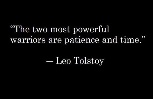 """""""The two most powerful warriors are patience and time.""""- Leo Tolstoy"""