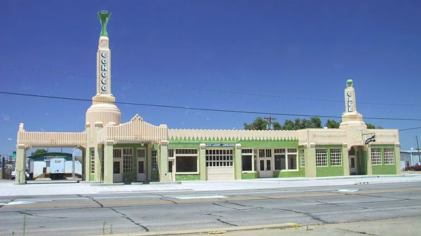 The Tower Station and U-Drop Inn were once a gas station and restaurant that served travelers in Shamrock, TX, on Route 66. Today it has been restored and acts as the Chamber of Commerce and tourism office.