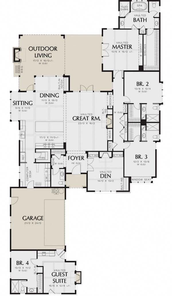 Main Floor For House Plan 2559 00144 Guest House Plans House Plans European Plan