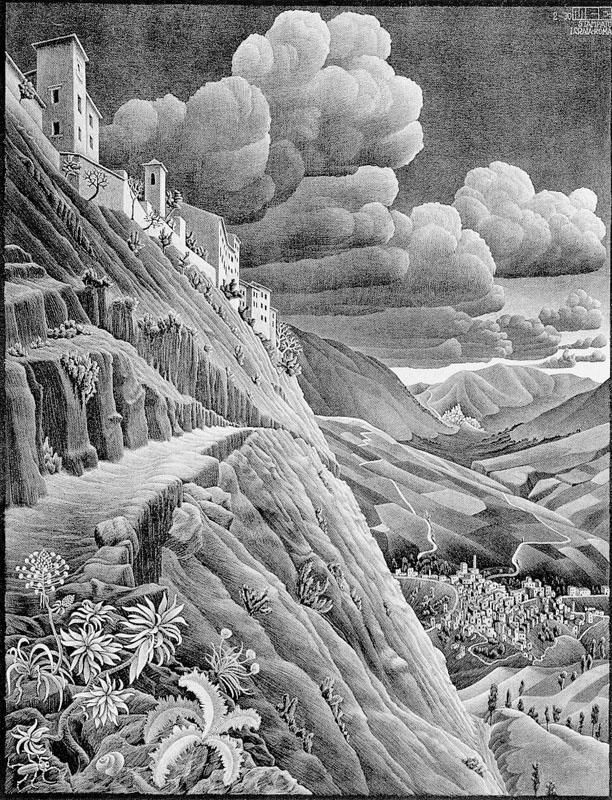 M. C. Escher, Castrovalva. Ottawa, National Gallery of Canada. Castrovalva village in Abruzzo, built balanced on rock outcrop and made famous around the world through the lithographs of M. C. Escher
