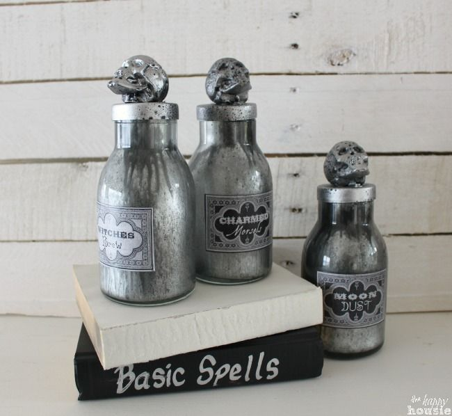 Make your own Faux Mercury Glass Potion Bottles tutorial at The Happy Housie