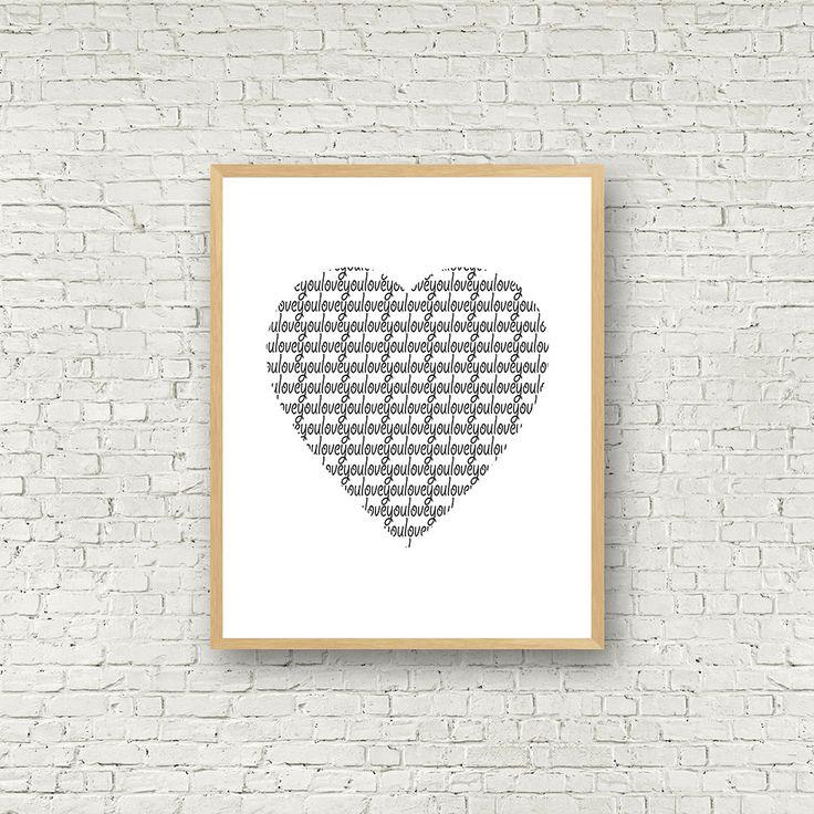 Love you, coeur blanc et noir, Love Wall Art, noir et Blanc, décoration contemporaine, affiche scandinave, décor scandinave, affiche amour de la boutique MamzelleJules sur Etsy