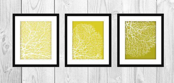 "Modern Mustard & Yellow Coral Printable Artwork (Set of 3 - 8x10"") - $15 #printable #coral #nautical #bathroom #decor #mustard #yellow"