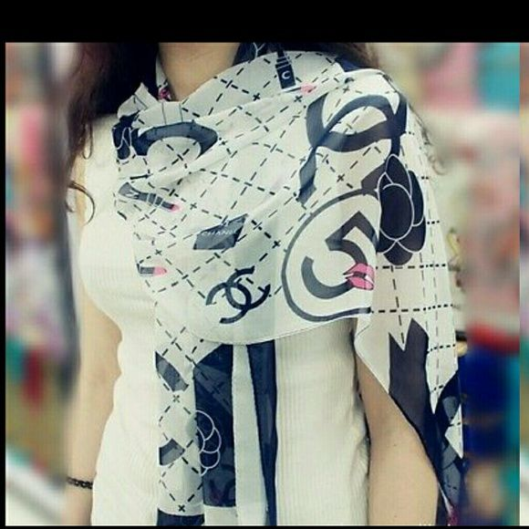 ⬇⬇Price drop Chanel scarf chiffon dark blue new New inspired chanel Accessories Scarves & Wraps