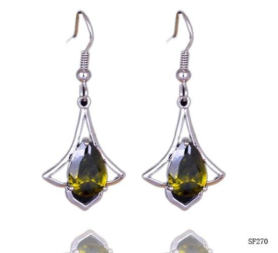 $3.18 38x18mm Fashion 925 Sterling Silver Gemstone Hook Earring