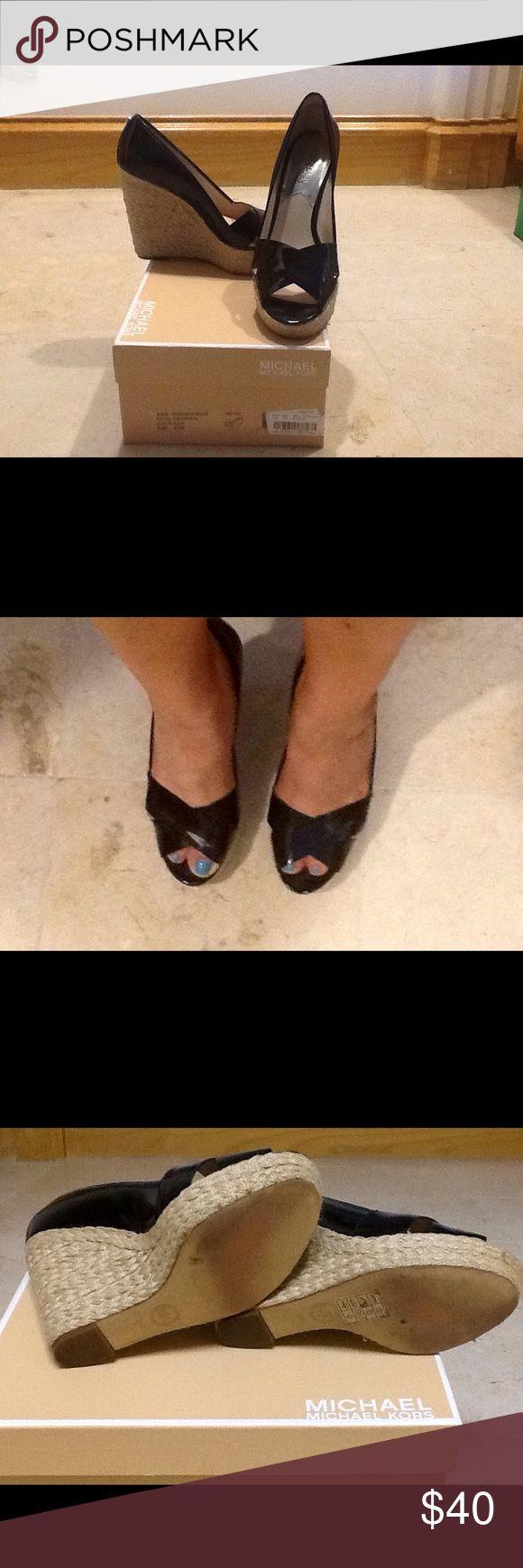 Michael Kors wedge Espadrille shoes 3 inch heel Patent black leather Michael Kors Espadrilles, gently worn Michael Kors Shoes Espadrilles
