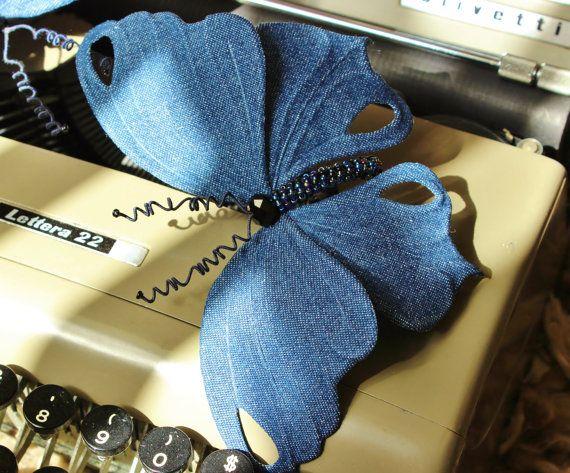 Large denim butterfly, denim wedding, butterfly headband, denim brooch