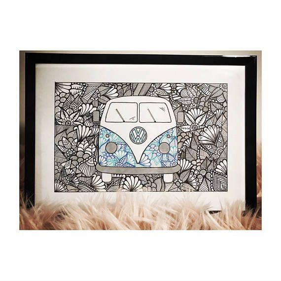 Kombi  Volkswagen  Zentangle Print