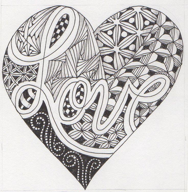 Zentangle heart #6 - Kitty - YouTube |Zentangle Heart Graphics