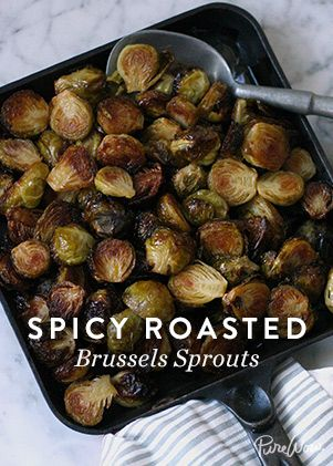 Spicy Roasted Brussels Sprouts via @PureWow