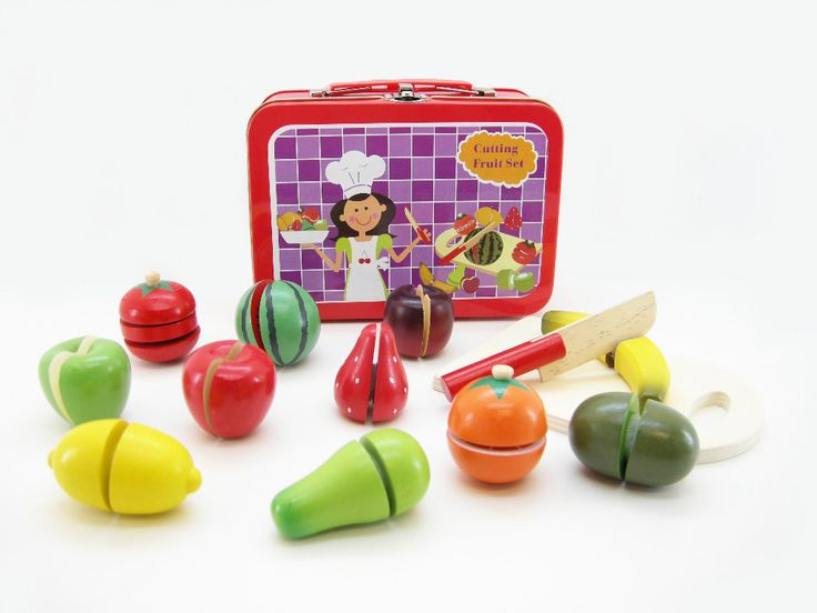Wooden Fruit Set in Carry Case A brilliant way for children to learn more about fruit. Identifying their halves, matching, cutting, fine motor control.
