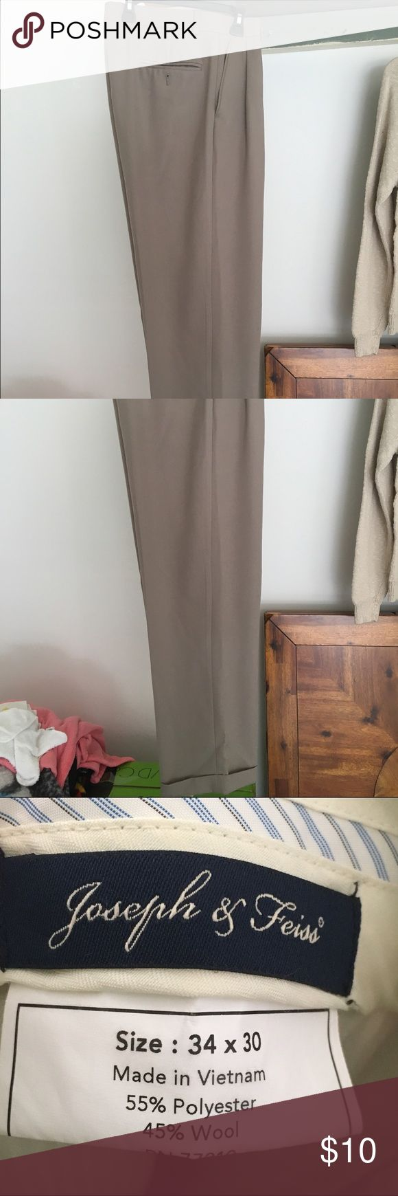 Men's dress pants with pleats. 34x30 Men's dress pant with pleats, beige color 34x30. Excellent condition. Pants Trousers