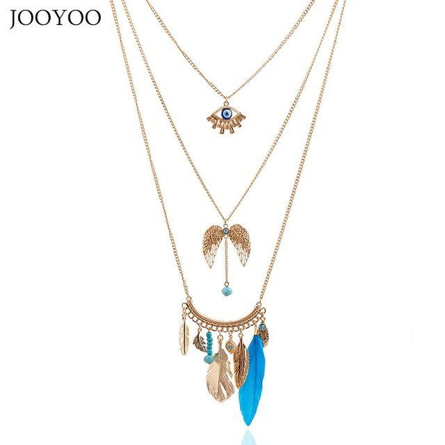 Jooyoo ретро стильный глаз крылья перо листьев кисточкой кулон цепи ожерелья себе ожерелье модные аксессуары и украшения