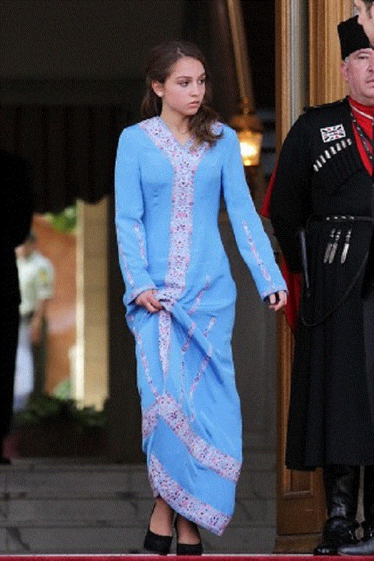 Princess Eman, daughter of Jordan's King Abdullah II, arrives to the official celebration of the 64th Independence Day on 25 May 2012