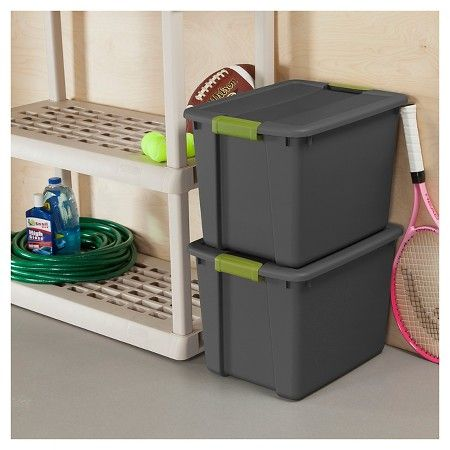 Sterilite® 48 Qt Latching Storage Tote - Gray with Green Latch : Target $6.29 Target.com