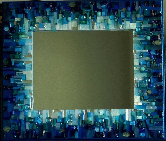 Blue mosaic mirror by tinytilemosaics (Sally Kinsey).