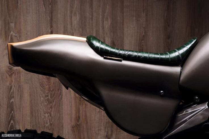 """Officine GP Design presents """"Indomabile"""" a motorbike with the saddle in eel skin, supplied by Foglizzo Leather. #FoglizzoLeather #bespoke #leather #eel #officinegpdesign"""