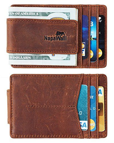 98b30458b2c0 Deep Brown Hunter NapaWalli Genuine Magnetic Napa Leather Front Pocket Money  Clip