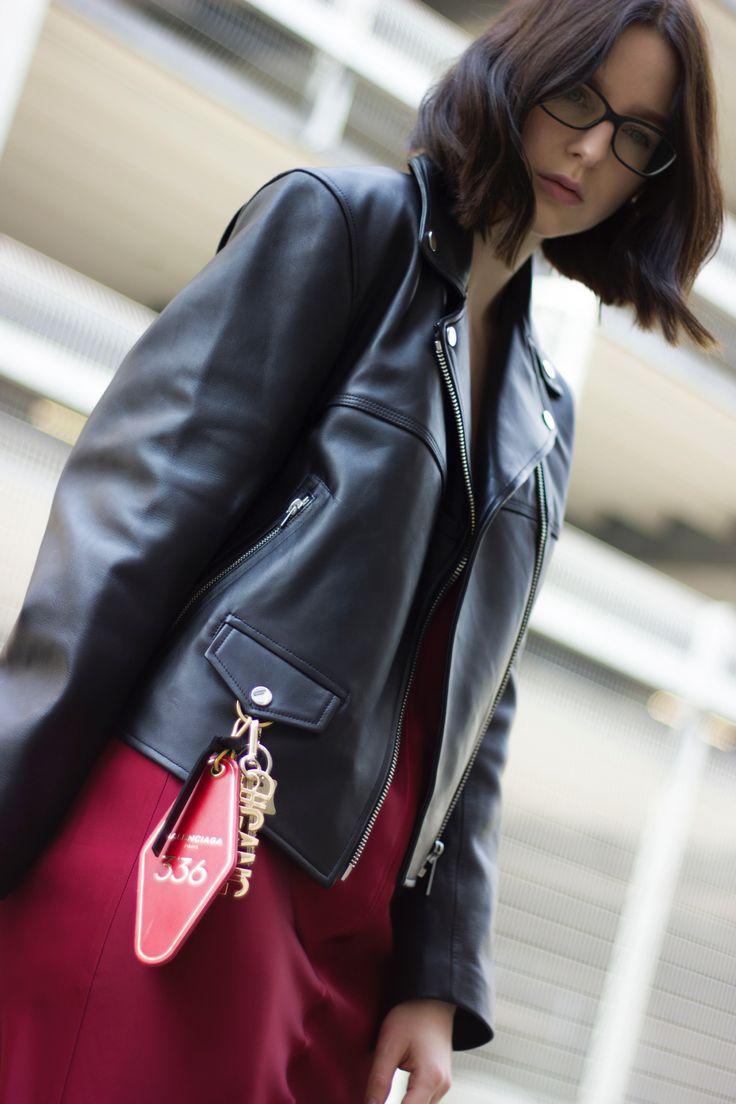 Helmut Lang leather jacket and Balenciaga key tag