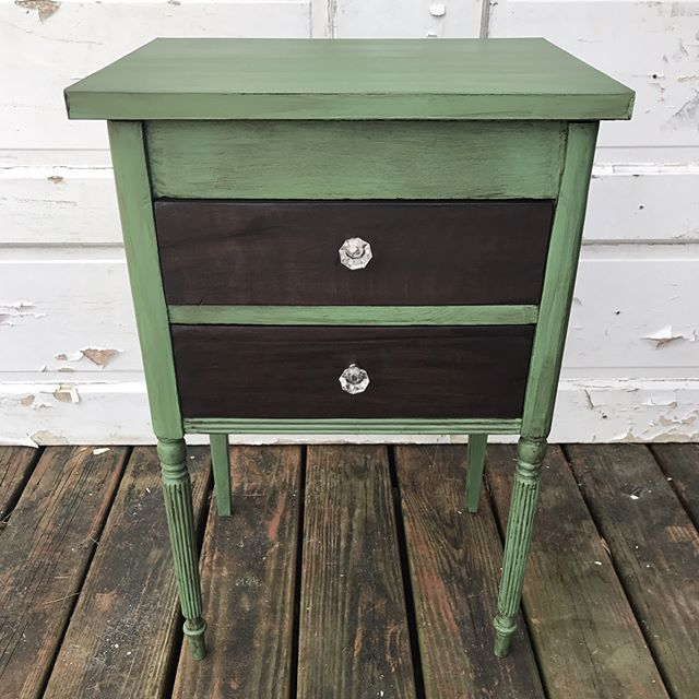 "Heading to @morgansonmainnc in a little bit today to drop off some furniture! Amongst the finished pieces is this vintage sewing notion chest finished in @dixiebellepaint product! The paint color is ""kudzu"" with grunge glaze. I gel stained the drawers in Dixie Belle espresso gel stain. Lastly, the inside drawers are lined in Tim Holtz paper and acrylic crystallized drawer pulls added. Swipe left to see the before photo! Price is in the comments.    #Regram via @whimsicalstew)"