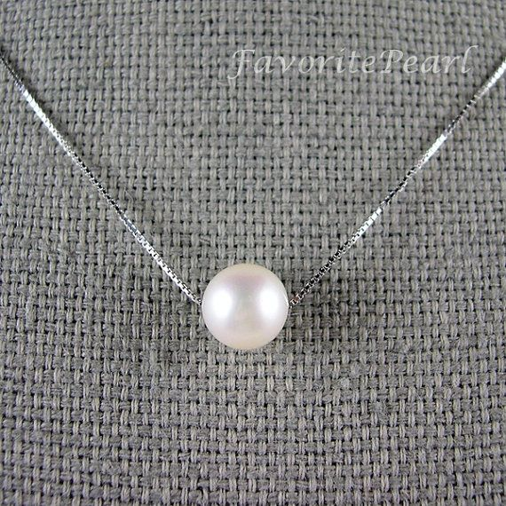 Single Pearl Necklaces White Fresh Water by FavoriteJewellery