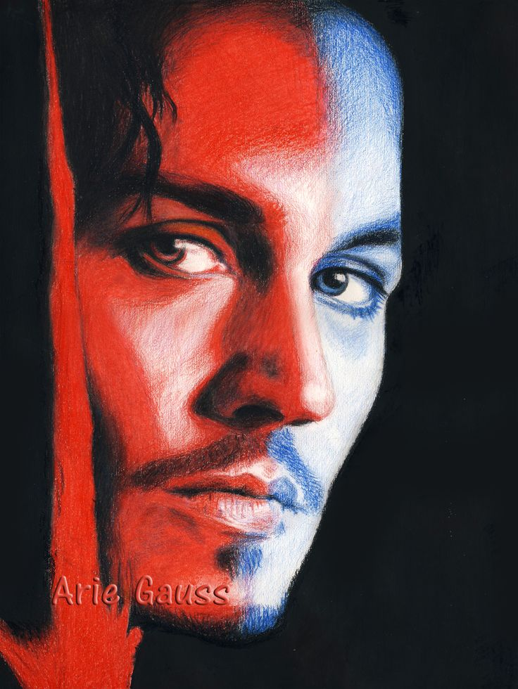 Johnny Depp in Wild Card From Hell. Colored pencil drawing.