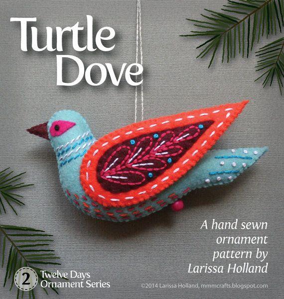 Patron PDF colombe tortue pour une laine cousu à la main en feutre ornement
