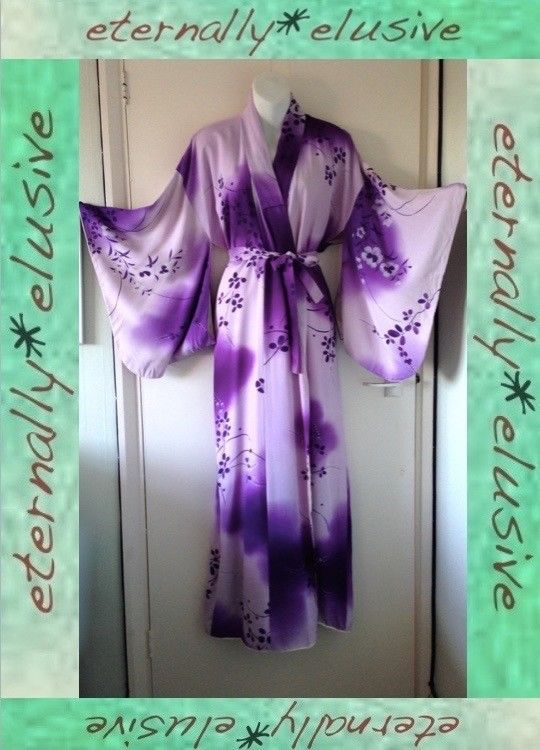 """Vintage Traditional Japanese Floral Kimono Dressing Gown Robe Womens Ladies 55"""""""