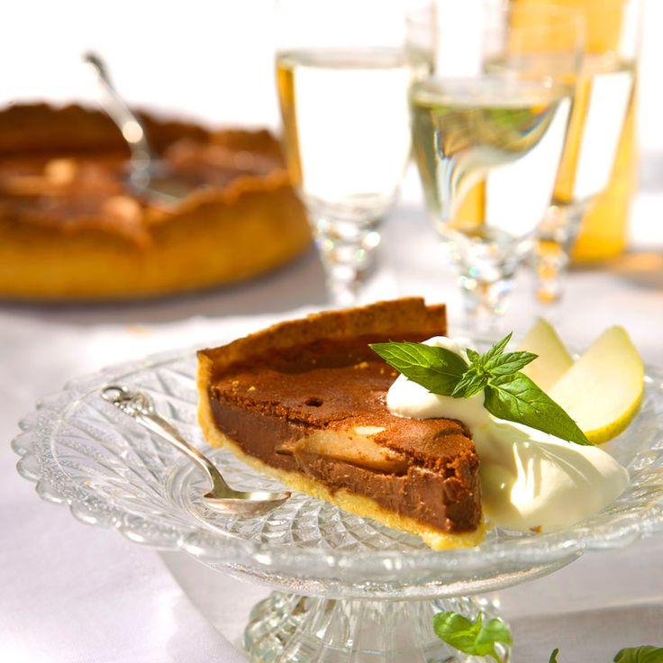 Päron- och mintchokladpaj är en riktig smaksuccé.