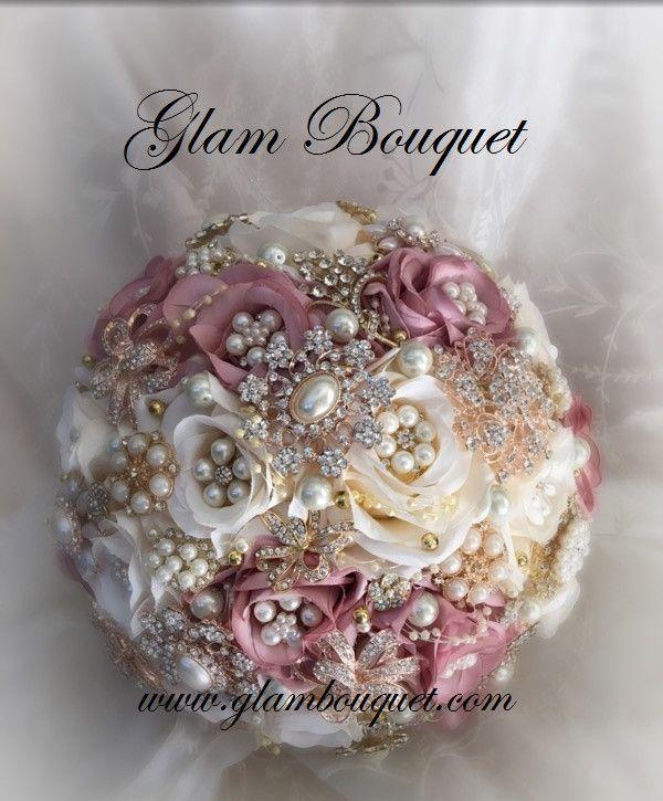 Dusty Rose Bridal Brooch Bouquet
