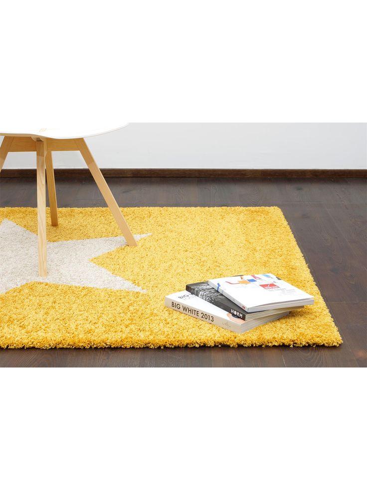 benuta Shaggy Rug Graphic Star Yellow 80x150 cm / Prüfsiegel: GuT-Siegel / Flormaterial: 100% Polypropylen / Florhöhe: 11 bis 20 mm / Motiv/Design: Geometrisch / Herstellungsart:Maschinengewebt / Wohnraum: Wohnzimmer on Amazon