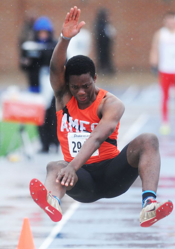 Ames' Marc Mbofung competes in the boys' long jump at the Drake Relays on Friday at Drake Stadium in Des Moines. Photo by Nirmalendu Majumdar/Ames Tribune http://www.amestrib.com/sports/20170428/track-and-field-ames-sends-two-relays-to-finals