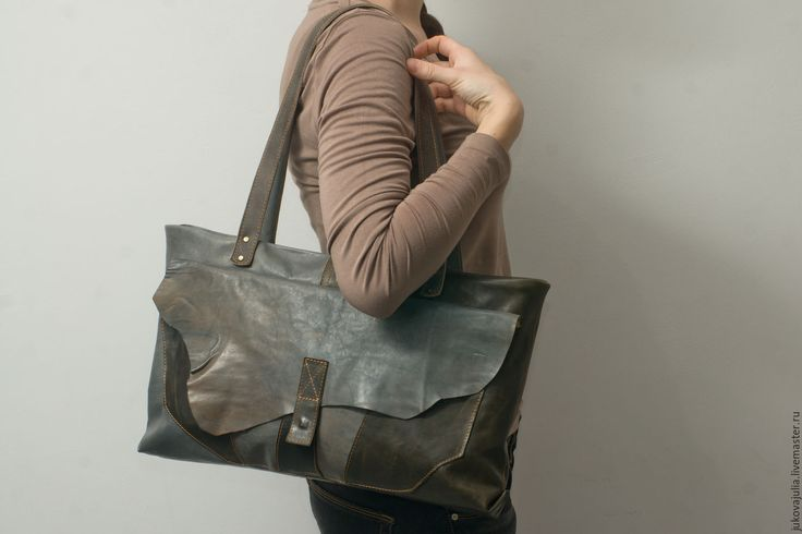 Купить Большая винтажная ретро сумка из натуральной кожи Дикий край - коричневый, сумка женская