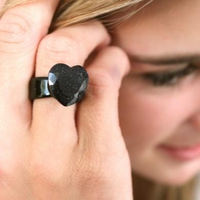 Hand made glass ring- Black & Purple - #poshprezzi