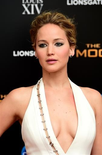 Jennifer Lawrence arriving at the after party of The Hunger Games: Mockingjay Part 1, held at the Bloomsbury Ballroom, London, Monday November 10, 2014. (Photo; Ian West/PA (Press Association via AP Images)