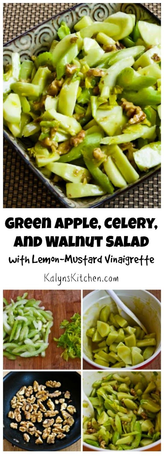 Green Apple, Celery, and Walnut Salad with Lemon-Mustard Vinaigrette is perfect for fall, and this could be a great salad for a holiday meal.  [found on KalynsKitchen.com]
