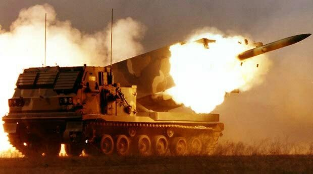 The M270 Multiple Launch Rocket  System (M270 MLRS) is an  armored , self-propelled , multiple  rocket launcher; a type of rocket  artillery . US Army.
