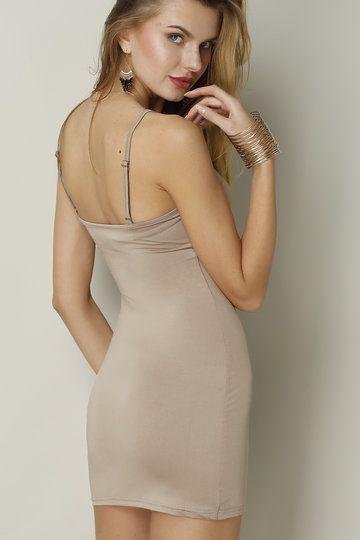 Light Brown Cami Bodycon Mini Dress