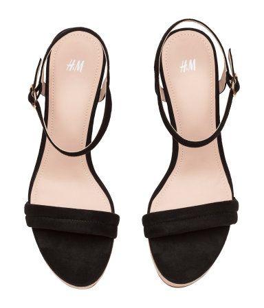 $19.99 - Elegant wedge heeled black Sandals up to #size10US #size42EU #size8UK  #black #heels  #Sandals | #Women | #H&M #bigsizeshoes #shoes #womenshoes #largesize #plussize #bigfeet #wedges
