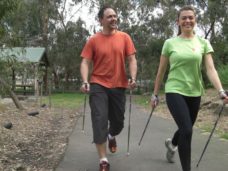 Nordic Walking for total body fitness. Here are the founders of Nordic Academy, Maree and Patrick  www.nordicacademy.com.au