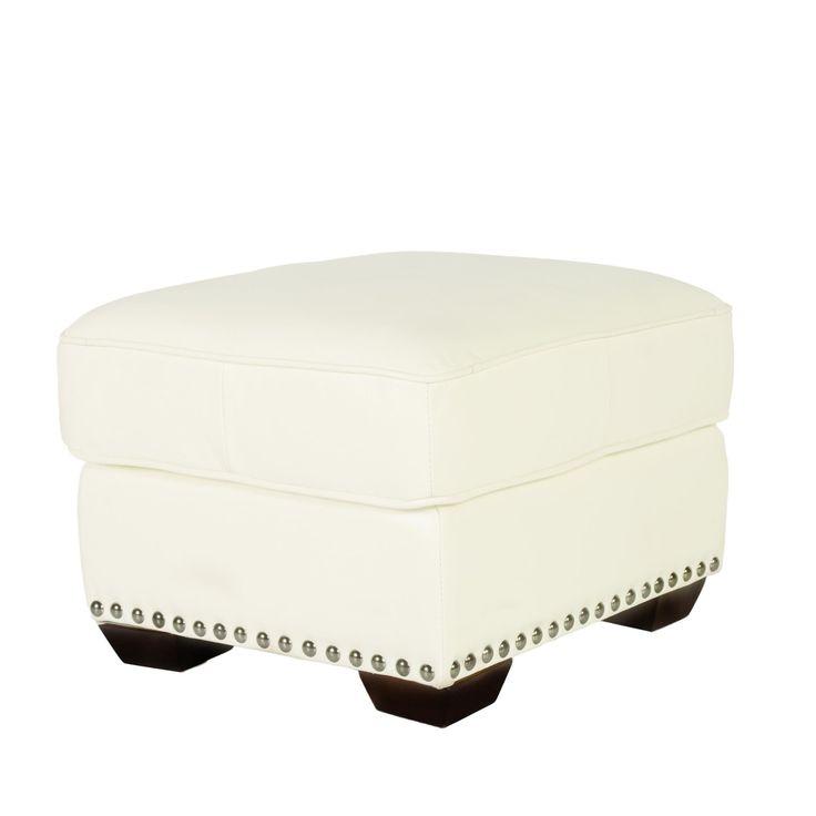 Lazzaro Leather Belarie Ottoman (White Leather Ottoman), Size Medium (Foam)