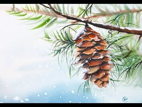 Easy Watercolors Pine cone Painting Tutorial